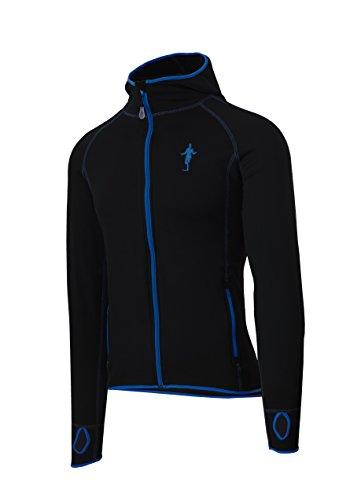Herren Laufjacke thoni mara Fleece-Hoodie schwarz Fullzip Jacke Sportswear Fashionwear 2nd Layer (Schwarz/Blau 9033 - L)