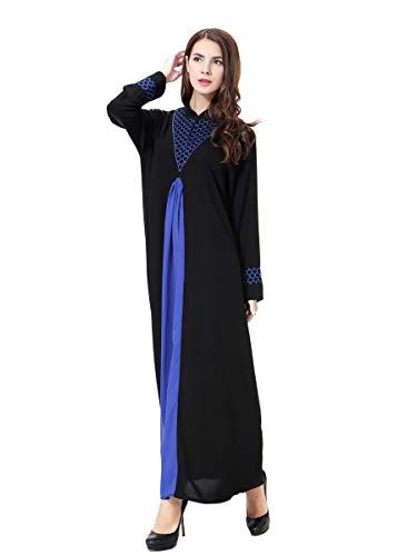 XDXART Frauen muslimischen Roben islamischen Abaya Maxi Kleid Langarm Langmantel marokkanischen Kaftan Kaftan Kleid (Blue, 2XL) (Marokkanischen Kaftan-kleider Für Frauen)