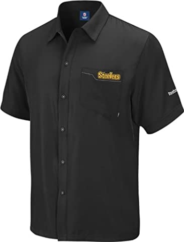 Pittsburgh Steelers Black Reebok 2010 Sideline Button Down Shirt Chemise