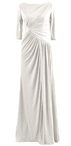 MACloth Women Half Sleeve Boat Neck Jersey Long Evening Gown Celebrity Dress Ivoire
