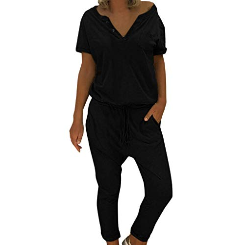 KIMODO® Damen Jumpsuit mit V-Ausschnitt, lose Lange Hose in Übergröße, einfarbig Sport Freizeitspielanzug mit Taschen