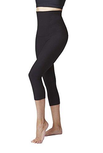 Damen Bauchkontrolle mit Figur Straffende Hohe Taille Crop Hose/kurze Leggings, Schwarz, L (Shaping Firma Control Kurze)