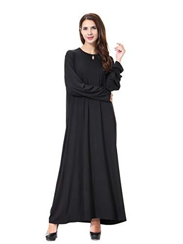XDXART Frauen muslimischen Roben islamischen Abaya Maxi Kleid Langarm Langmantel marokkanischen Kaftan Kaftan Kleid (Black, L) (Marokkanischen Kaftan-kleider Für Frauen)