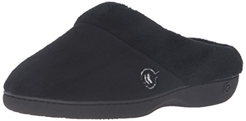 isotoner-womens-classic-mixed-microterry-hoodback-slippers-black-small-65-7-m-us
