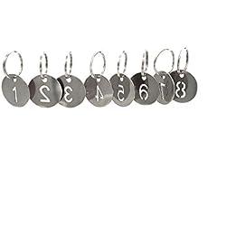 Llavero de acero inoxidable 304 con anillo, número hueco, etiquetas de identificación, llavero, llaveros numerados