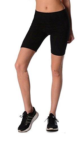 Dykmod Damen Kurze Leggings Shorts Sport Radlerhose mf35, Schwarz, 40 (L)
