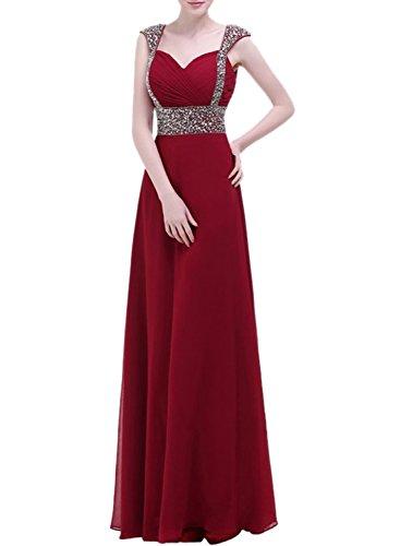 Azbro Women's Chiffon A-line Beading Prom Dress Mint Green