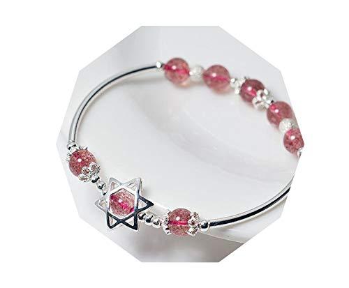 1 pulsera plata ley 925 piedra cuarzo fresa estrella
