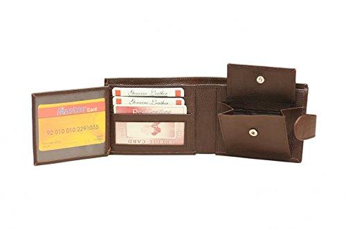 Colore: Marrone, da uomo, in vera pelle morbida Wallet-scomparti per carte di credito e tasca per banconote, con chiusura a Zip e scomparto porta documenti, SELLER-UK