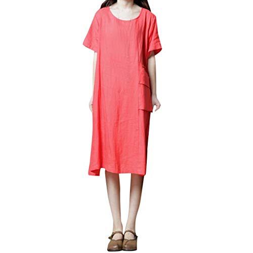 Zegeey Damen Sommerkleider Einfarbig Kurzarm Rundhals Kleider Lose LäSsige Maxi Kleid Mit ()