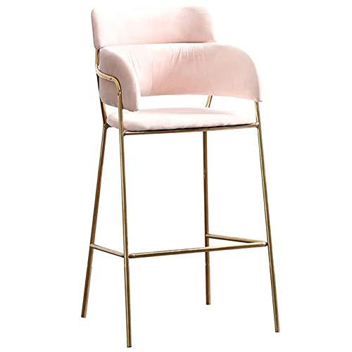 Dall seggiola da bar moderno sedia da colazione per cucina sgabello alto gambe in metallo sedia da pranzo cuscino morbido counter stool montaggio (color : pink, size : height 75cm)