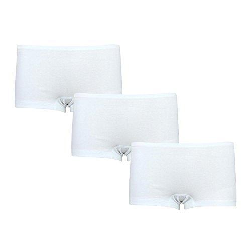 Alkato Damen Boxershorts Panties Baumwolle 3er Pack, Farbe: Weiß, Größe: M