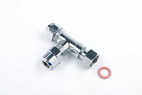 Preisvergleich Produktbild T-Stück 3/8 Zoll Abzweig-Verteiler für Eckventile aus Messing verchromt mit Dichtung