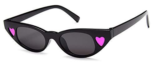 WSKPE Sonnenbrille Cat Eye Sonnenbrille Liebe Schattierungen Herz Uv 400 Schwarz Gestell Schwarz Objektiv