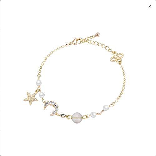 Schmuck Kostüm Singapur - APPWLING Half Moon Bend Südkorea einfache Perle Armband weiblichen Flas