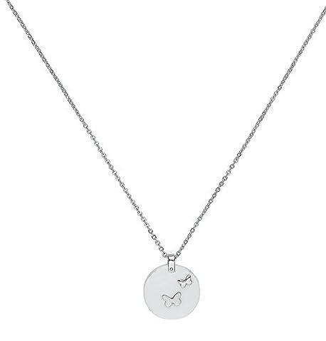 Ceranity - 907-029.B - Collier avec Pendentif Femme - Papillons - Acier inoxydable - Céramique - Blanc - 45 cm