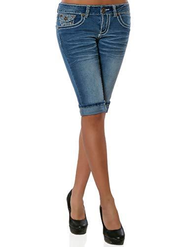Damen Capri Jeans Kurze Sommer Hose Dicke Naht DA 15984 Farbe Blau Größe XXL / 44