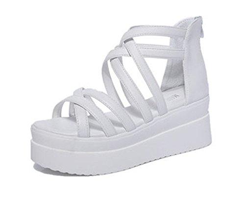 New Summer Cross Dewy Toe Women Sandals Sponge Base Platform Height with The Roman Sandals White Female White 4 - Sh Base