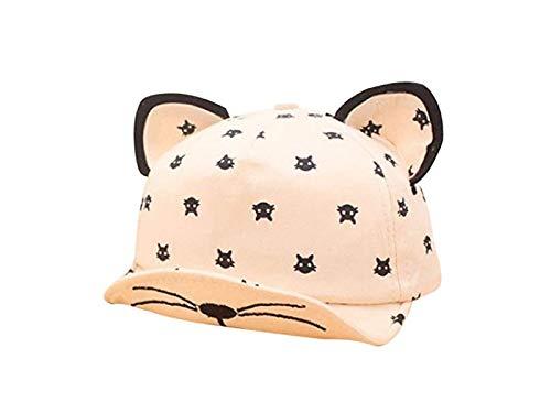 FOUGNOGKISSS Kinder Cartoon Katze Ohren Form Baseball Cap Baby Sonnenhut für 3-18 Monate (Beige) (Farbe : Beige, Größe : 18-40cm)