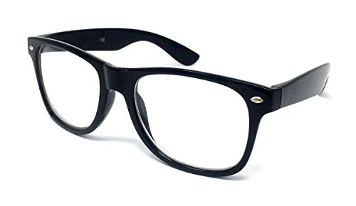 Black Frame Nerd Glasses, Clear Lens