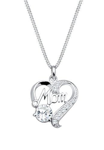 Elli Damen-Kette mit Anhänger MOM-Schriftzug Herz 925 Silber Zirkonia weiß Brillantschliff 45 cm - 0104723013_45