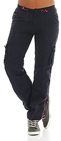 SUCCESS Mädchen Cargo Hose Casual Wear Chino Stoff Hose 5 Pocket Regular Fit Freizeithose 2589 (158, Navy)