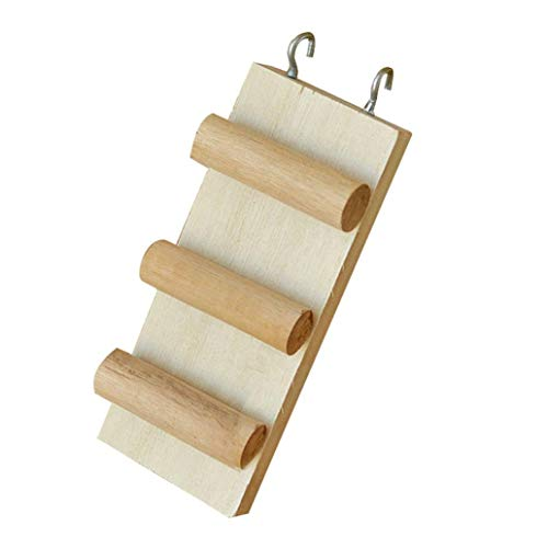Bobopai Wooden Climbing Biting Hamster Ladder Three/Four Steps Stile Stair Toy for Syrian Hamster Gerbil Rat Mice Chinchilla Guinea Pig Squirrel Small Animal House Cage Chew Toys (Three Steps) -
