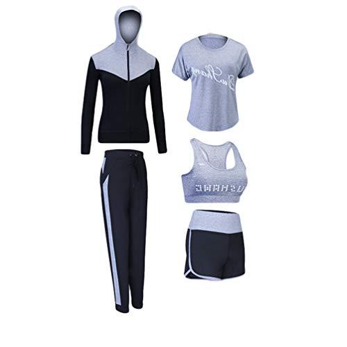 d1df7bf35c Xinwcang Damen Yoga Kleidung Anzug 5er-Set Lauf Jogging Trainingsanzug Set  Gym Fitness Kleidung Set