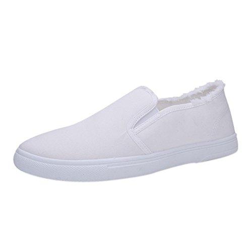 Overdose-Chaussures Mode Tennis en Toile à Enfiler Homme, Bateau Orange Casual Sportswear sans Lacets Soldes Canvas Basket Blanc