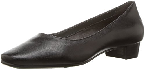 Leather Square Toe Mokassins (Aerosoles Damen Subway, schwarzes Leder, 39 EU)