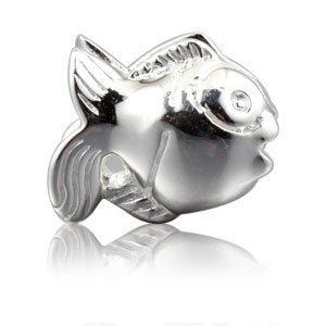 """Andante-Stones 925 Sterling Silber Bead Charm """"Fisch"""" Element Kugel für European Beads + Organzasäckchen"""