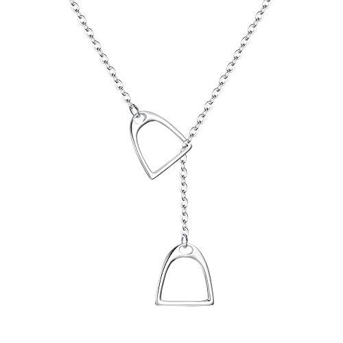 """FANZE Damen Halskette 925 Sterling Silber 2 Pferd Huf Steigbügel Lariat Y Stil Anhänger Geschenk Für Ihre Freunde Mit Kette 18\"""" Silber-Ton"""