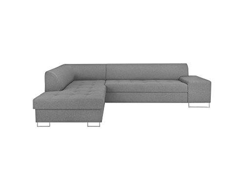 Cosmopolitan-Design LC_ORLANDO104 CANAPÉ d'angle Gauche Convertible Tissu, Gris Clair, 278 x 220 x 74