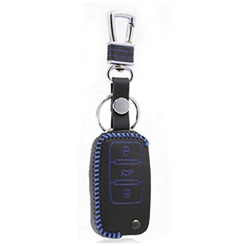 Happyit Auto Leder Schlüssel Fall für Volkswagen Jetta Golf Passat Beetle Polo Bora 3 Und andere Holster (Blau)