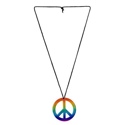 ette mit Peace-Zeichen / Regenbogenfarben / Kette mit Friedenszeichen für Blumenkinder / Wie geschaffen zu 60er-Party & Schlagermove ()