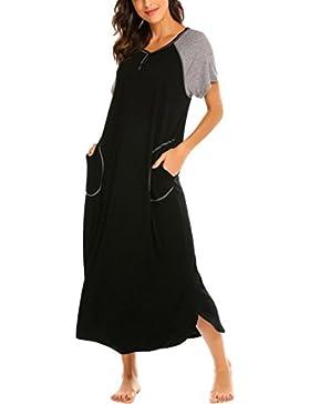 Skione Mujer Ropa De Dormir Camisones Algodón con Botón Camisón Suelto Algodón
