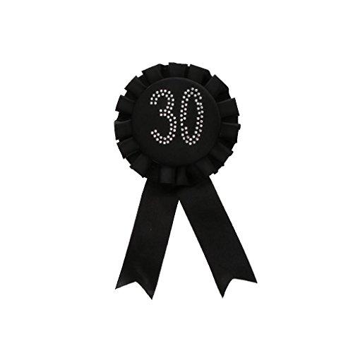 Kostüm Awards - Glitter Geburtstag Rosette Abzeichen Brosche Award-Band Geburtstag Party Kostüm - Schwarz 30