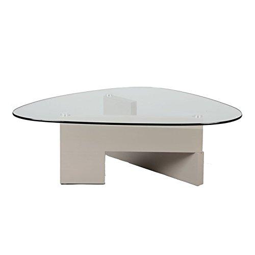 Tousmesmeubles Table Basse Verre et Bois - Gambetta - L 127 x l 91 x H 40 - Neuf