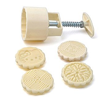 vzer rund DIY Backen Werkzeug Mondkuchen Form Gebäck Keks Mould + 4pcs Muster Modell Weiß 14,5x 6,5cm (Kit Keks)