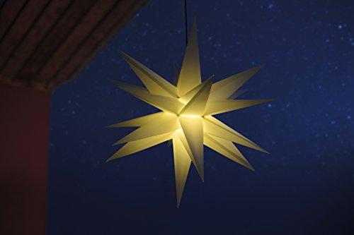 3D Leuchtstern / mit warm-weißer LED Beleuchtung / für Innen und Außen geeignet (IP44) / hängend / 7,5 m Zuleitung (Weiß)