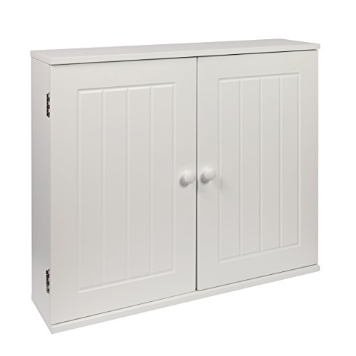 Woodluv MDF White Double Wall Cabinet Cupboard Storage