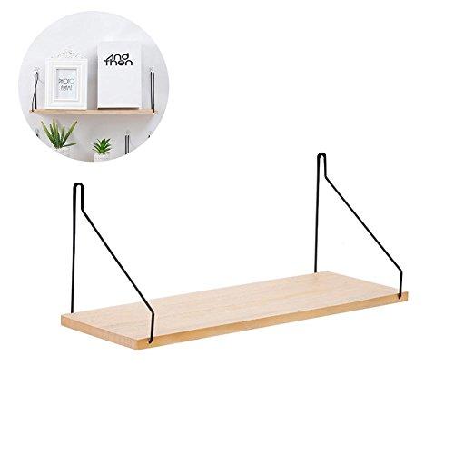 Mensola da parete in legno massiccio, in ferro, per casa e living room
