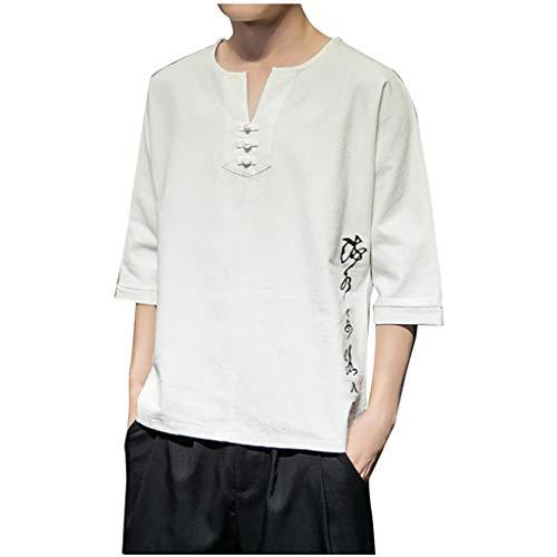 Tops Herren Sommer Shirts Basics Baumwolle Tank Tops Fitness Running Polo Bluse Strand Hemden Herbst 2019 Neu Qmber Chinesischer Stil Leinen lose Retro Kurzarm Einfarbig lässig/Weiß,5XL (Kostüme Für Hunde In Irland)