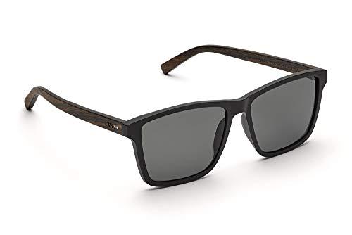 TAKE A SHOT - Große eckige Holz-Sonnenbrille Herren, Holz-Bügeln und Kunststoff-Rahmen, UV400 Schutz, rückentspiegelte Gläser - Tomte