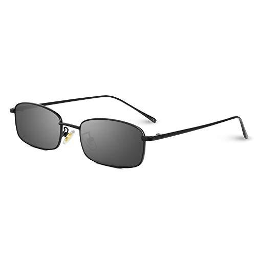 AMZTM Rechteckige Sonnenbrille - Vintage Mode Kleine Metallrahmen Brillen für Damen Herren Candy Color Linse UV400 Schutz HD Vision Schlanke Sonnenbrillen (Schwarzer Rahmen, graue Linse)