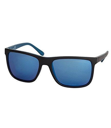 SIX MAN Herren Sonnenbrille, verspiegelte Gläser, matt, UV-Schutz, blau, schwarz, Sommer (430-658)