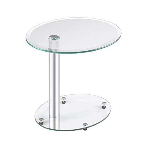 Rfiver mobili tavolino da caffè in vetro trasparente, tavolino, divano, tavolino, comodino, nesting table, ovale, 45 x 35 x 45 (h) cm et3001
