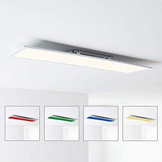 Pannello LED da soffitto, 120 x 30 cm, cambiamento cromatico RGB, con telecomando, 1 x 40 Watt LED integrato, 1 x 4000 lumen, 2700 – 6500 K, in metallo/plastica, bianco.