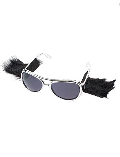 Elvis Silber Brille (Brille Elvis mit Koteletten silber keine)