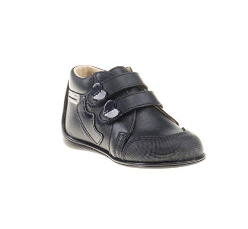 Botines para niña de Piel con Cierre de Velcro. Calzado Infantil Fabricado en España - Mi Pequeña Modelo 606I Color Azul Marino.